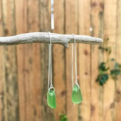 Lime green sea glass thread earrings