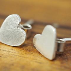 Tiny silver heart earrings | Sterling Silver love hearts | Handmade