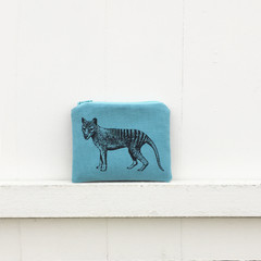 Screen printed Tasmanian tiger coin purse