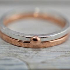 Silver and copper stackable rings | Copper and Sterling silver textured stacking