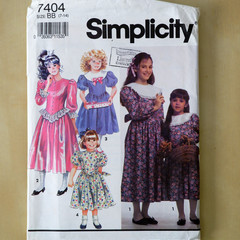 Simplicity 7404 sewing pattern, girls dress pattern, sizes 7 to 14