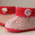 Candy Buttoned Baby Booties in Baby Pink & Crimson for 0-6 and 6-12 months