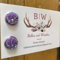 Druzy Stud Earrings - Purple