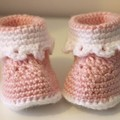 Baby Booties in Pink & White for 0-6 and 6-12 months
