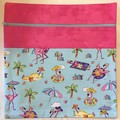 Large Project Bag with Inside Pocket  - Flamingos