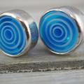 Handmade sterling silver blue stud earrings