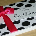 Happy Birthday card - black white and hot pink
