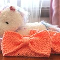 Crocheted Headband for Babies/Toddlers - Peach - Handmade, Soft and Stretchy