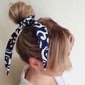 FREE POST  Scarf / Hair Tie - Navy & White