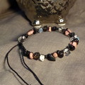 Black bracelet w Blk Tourmaline, Rhodonite, Smoky Quartz and Clear Quartz chips