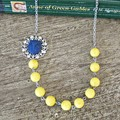 Yellow and Navy Blue Necklace Woodland Owl Bird For Women Jewellery