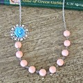 Blue Peach Botanical Necklace Jewellery Coral Pastel Asymmetrical For Women
