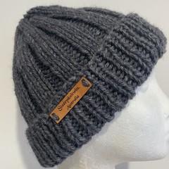 Grey  alpaca ladies or mens knitted beanie wool blend pompom