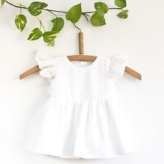 Ethical White Flutter Baby Dress Size 0