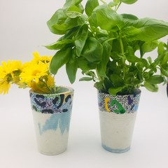 Handmade and Hand Painted Concrete Vases