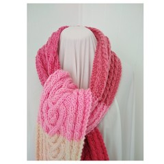 Hand knitted Cable Scarf - Pink Hearts