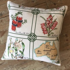 Vintage Linen Cushion w/ Feather Insert - Australiana / Wildflowers