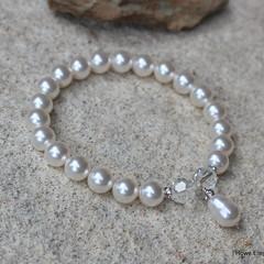 Swarovski White pearl & crystals, Sterling Silver, stretch bracelet