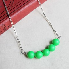 Neon Green Bar Necklace Swarovski Crystal Pearl Jewellery Silver Fluorescent