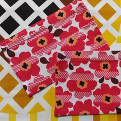 Handy Bags- Funky red and orange flowers
