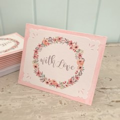 Note Card Set of 3 Floral Wreath Pink WITH LOVE - Birthday Mothers Day Love