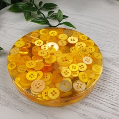 Mug Coasters - YELLOW Buttons For Drink or as a Paperweight - SINGLE- Resin