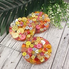 Mug Coasters - CITRUS Buttons For Drink or as a Paperweight - SINGLE- Resin