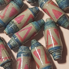 Blue/pink handmade designer paper beads set of 14.