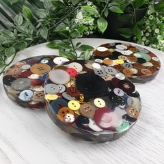 Mug Coasters - GRANDMA's Button Tin - Coaster Paperweight - SINGLE- Resin
