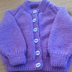 BABY GIRL'S PURPLE  CARDI TO FIT 3-6 MONTHS LINCRAFT ESTHER ACRYLIC YARN.