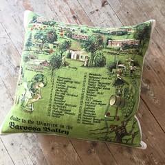 Vintage Linen Cushion w/ Feather Insert - Australiana / Barossa Valley