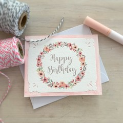 Note Card Set of 3 Floral Wreath Pink HAPPY BIRTHDAY - Birthday Girl