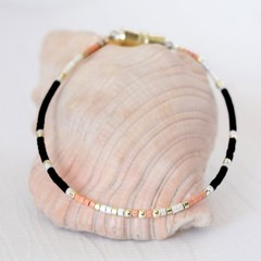 Silver & Pink Bead Friendship Bracelet or Anklet- Minimalist Jewellery