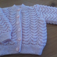 Baby Girls Pink Cardigan in Paton's 3ply Baby Yarn to fit 0 to 3 months