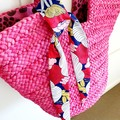 FREE POST  Scarf / Hair Tie - Blue, Pink, White & Yellow