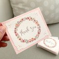 Note Card Set of 3 Floral Wreath Pink THANK YOU
