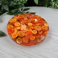 Mug Coasters - ORANGE Buttons For Drink or as a Paperweight - SINGLE- Resin