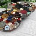 Mug Coasters - GRANDMA's Button Tin - Coaster Paperweight - SINGLE- Resin
