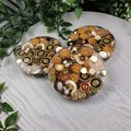 Mug Coasters - Old Gold Buttons - Paperweight - SINGLE- Resin
