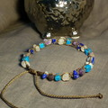 Brown macrame bracelet w Lapis Lazuli, Amethyst, Turquoise and Rose Quartz chips