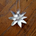 Recycled 99.9% Silver and Amethyst 'flower''pendant on a Sterling Silver chain