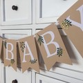 OH BABY Greenery Banner with leaves. Baby shower banner, neutral baby sprinkle.