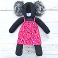 'Poppy' the Sock Koala - pink with colourful spots - *MADE TO ORDER*