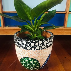Hand Painted Design Terracotta Planter