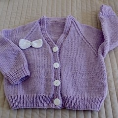 Size 5yrs :hand knitted cardigan; girl, washable