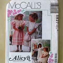 McCall's sewing pattern 5827, girls dress pattern, size 6