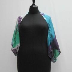 White blue purple green plus size Shrug, silk shrug, silk bolero, silk cover up
