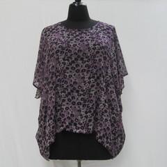 Purple plus size tunic,, leopard print caftan, animal print kaftan, cover up