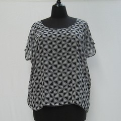 Black and white plus size tunic, geometric caftan, black kaftan, swim cover up