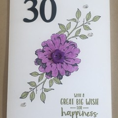 30th Birthday Handmade Card  -  FREE POST